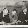 Timekeepers and scorekeepers at basketball game at Eufaula, Oklahoma