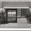 Detail of entrance to the community building at the Arizona part-time farms. Maricopa County, Arizona