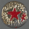 Tin badge - laurel wreath repousse & red star
