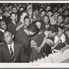 Detail of crowd watching the orchestra at the Savoy Ballroom. Chicago, Illinois