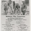 Oscar Micheaux (center) with an actor and possible a crew member in an advertisement for the Micheaux Film Corporation