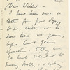 Augusta Gregory to W.B. Yeats ALS May 21 1909