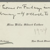 Calling card from Willa Cather, 1924