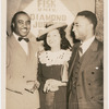 Lawrence Reddick with his wife Ruth and musician Jimmie Lunceford at a gathering for Fisk University