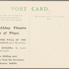 Postcard advertising first productions of Spreading the News, Irish National Theatre Series