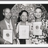 Allan Johnson, Willa Kim, and Julie Wilson holding their Tony Award nominations for Legs Diamond