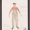 """Chaplin: costume sketch for Charlie, """"Rooming House"""""""
