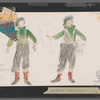 Chaplin: costume sketch and fabric swatches for news boy (Mike Lawrence), SK 25