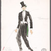 Chaplin: costume sketch and fabric swatches for drunk (Tom Sesma), SK #22