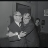 Zero Mostel and unidentified at the opening night of stage production Cabaret