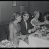 Roddy McDowall [center] and unidentified others at opening night of stage production Cabaret