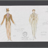Busker Alley: costume sketch and fabric swatches for Groomsmen and Groom, SK# 25