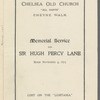 Order of the memorial service for Sir Hugh Percy Lane at Chelsea Old Church, London