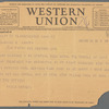 Willa Cather to Blanche Knopf, April 28, 1928: Western Union telegram