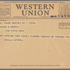 Willa Cather to Blanche Knopf, June 7, 1932: Western Union telegram