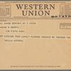 Willa Cather to Blanche Knopf, June 7, 1932: Western Union telegram