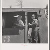 Grant County, Oregon. Malheur National Forest. Engineer and fireman of log train
