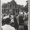 Shakespeare in the Park, children in Central Park stop to watch rehearsals