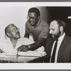 Lloyd Richards, unidentified man, and August Wilson at rehearsal for Ma Rainey's Black Bottom