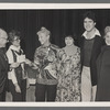 Betty Corwin, director of the Theatre on Film and Tape archive, and Kate Mostel with unidentified others presenting donation to TOFT in memory of her husband, Zero Mostel