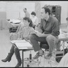 James Lapine and unidentified other during rehearsal for the stage production Sunday in the Park With George
