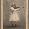 Aline MacMahon as a child, full figure in white dress playing violin with black ballet shoes