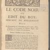 Le code noir ou Edit du roy