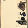 Chaplin: costume sketch for Stahl and fabric swatches, #99