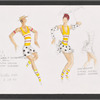 """Dancin' With Gershwin: Costume sketch and fabric swatches for Act I, Dance 9 """"Nice Work If You Can Get It"""" (Lee Bell, Rodolphe Cass, Shannon Hurlburt, Amy Siewert, Claudia Alfieri, Sarah Barber)"""