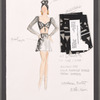 """Dancin' With Gershwin: Costume sketch and fabric swatches for Act I, Dance 12 """"Of Thee I Sing"""" (Allison Jay, Celia Fusille Burke, Sarah Barber)"""