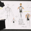 Dancin' With Gershwin: Costume sketches and color photocopy with fabric swatches for Men's Basic Tuxedo