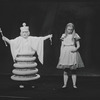 Kate Burton (as Alice) and Joan White (as White Queen) in the stage production Alice in Wonderland