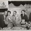 Book party at Bowman's Lounge: Langston Hughes, Eartha Kitt, Henry Armstrong, Pauli Murray, Mr. Bowman, Ralph Cooper