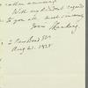John Ranking to Jane Porter, autograph letter signed