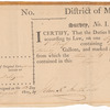 Official receipt of the District of Maryland for duties on whiskey