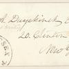 William Alexander Duer envelope addressed to E.A. Duyckinck