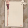 Blank card with a man with extremely long legs and a piece of origami