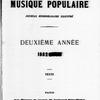 La Musique populaire, Vol. 1, no. 16