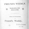 Freund's weekly, Vol. 1, no. 1