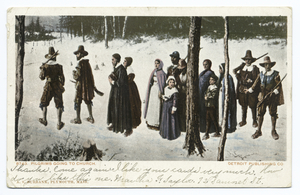 Pilgrims going to Church, Plymouth, Mass.