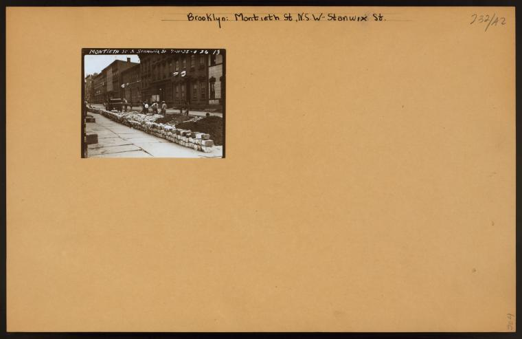 Monteith Street, north side, west from Stanwix Street, showing W.P.A. men at work on a sewer project (1935) Credit: New York Public Library