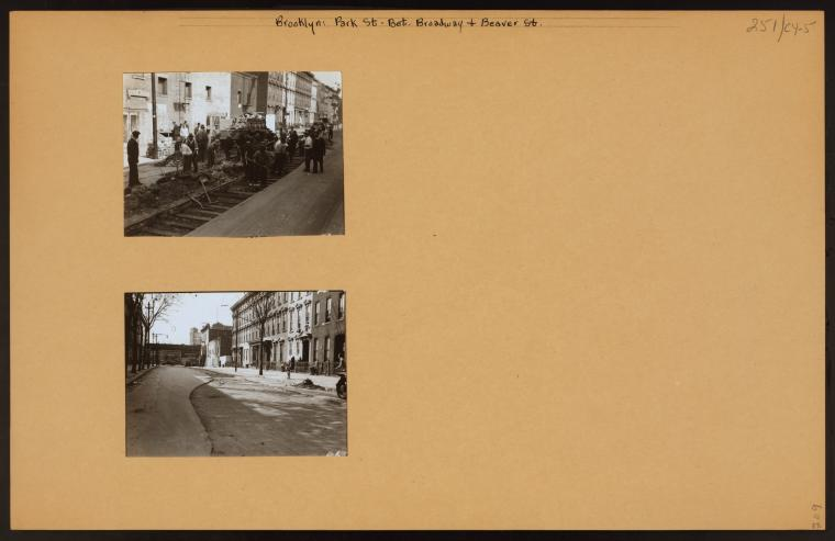 "Park Street between Broadway and Beaver Street showing W.P.A. men working on a highway project. View one shows the north side of the street looking east; view two looks westward and shows the ""El"" on Broadway (1935) Credit: New York Public Library"