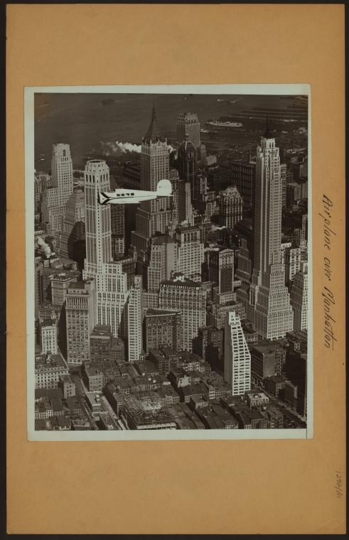 Airplane over Manhattan ; [Ludington airliner Orion inaugurating shuttle services between Newark and Washington D.C.]
