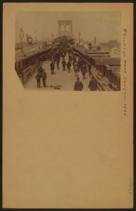 Bridges - Brooklyn Bridge - [View of the sightseeing public walking the length of Brooklyn Bridge during its construction.]