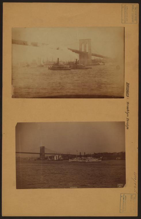 Bridges - Brooklyn Bridge - [Harbor traffic.]