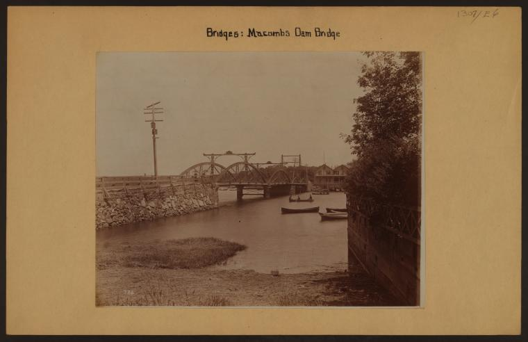 Macombs Dam Bridge from the Bronx, showing the old structure before it was replaced by a modern steel structure in 1895
