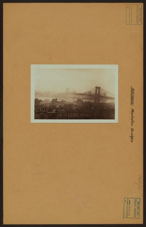 Bridges - Manhattan Bridge - [Looking south from Jewish Daily Forward building at Stewart Park.]