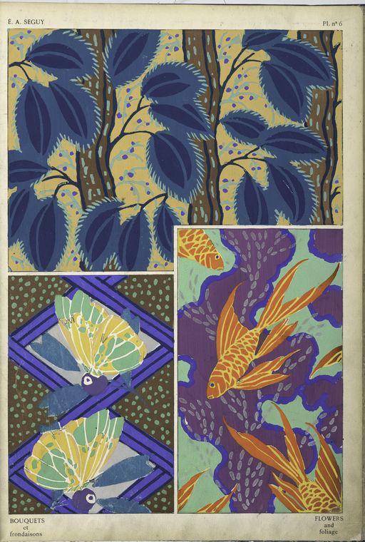 1. Foliage; 2. Butterflies and foliage; 3. Goldfish