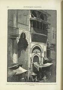 Sebîl, or street fountain.  Supplied from a cistern below which is filled during the inundation of the Nile.  The upper chamber, with its columns and double veranda, is a school-room.
