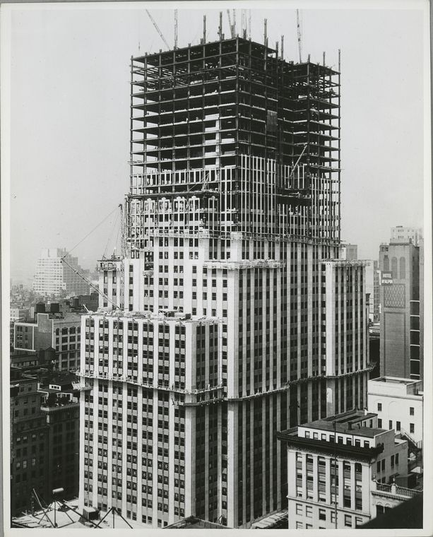 View of the building with about forty stories framed out